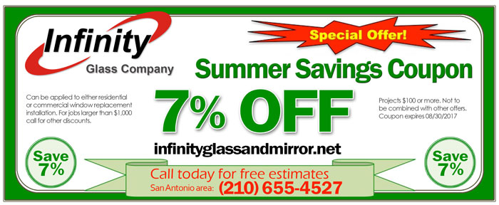 save 7 persent on glass service in san antonio texas